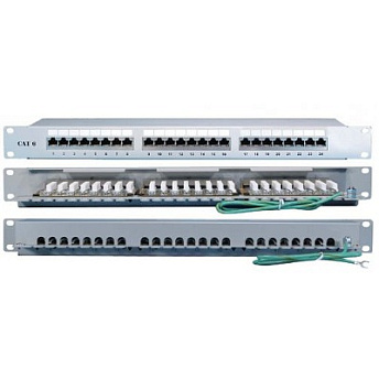 "Hyperline PP2-19-24-8P8C-C6A-SH-110D Патч-панель 19"", 1U, 24 порта RJ-45 полн. экран., категория 6"