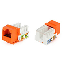 Hyperline KJ2-8P8C-C5e-90-OR Вставка Keystone Jack RJ-45(8P8C), категория 5e, Dual IDC(110&Krone typ